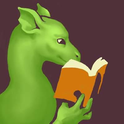 A green dragon reading a book.