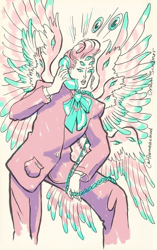 An angel with many wings and many eyes, wearing a 1980s power suit in lavender and aqua, talking on a telephone handset.