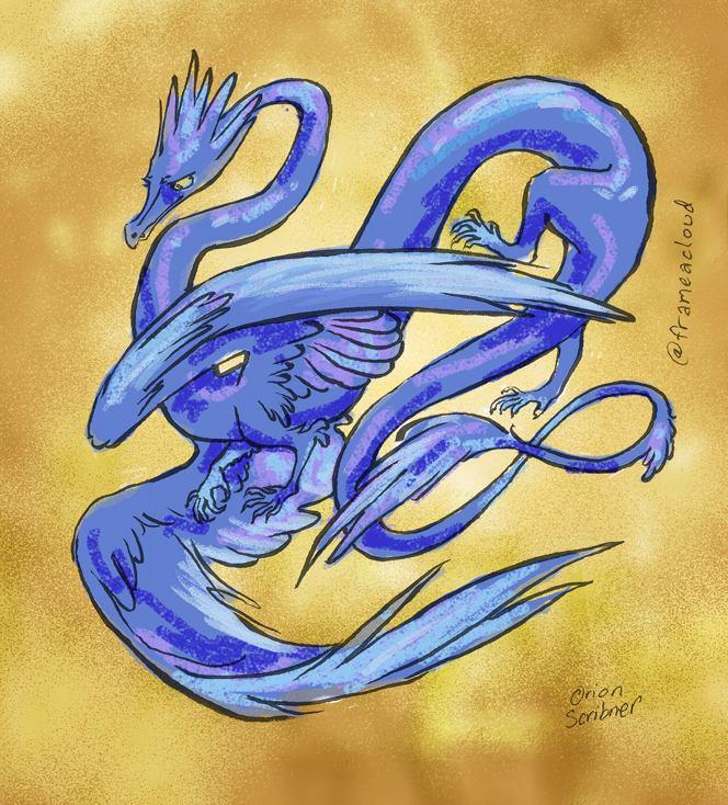 A long blue dragon-like noble-person.